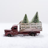 vintage truck christmas ornament with pine trees