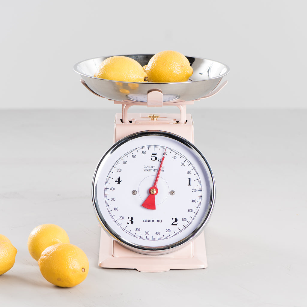 light pink metal kitchen scale