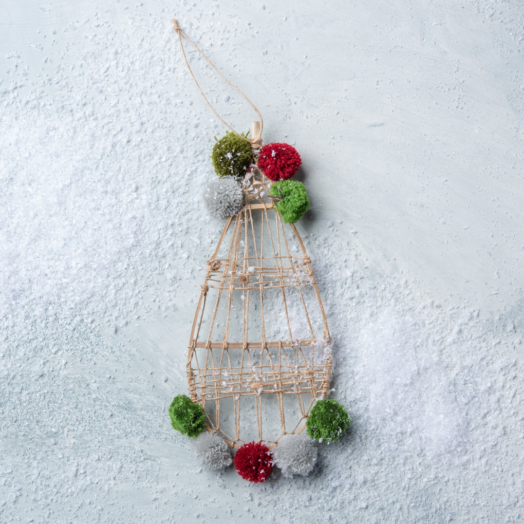 pom snowshoe christmas ornament
