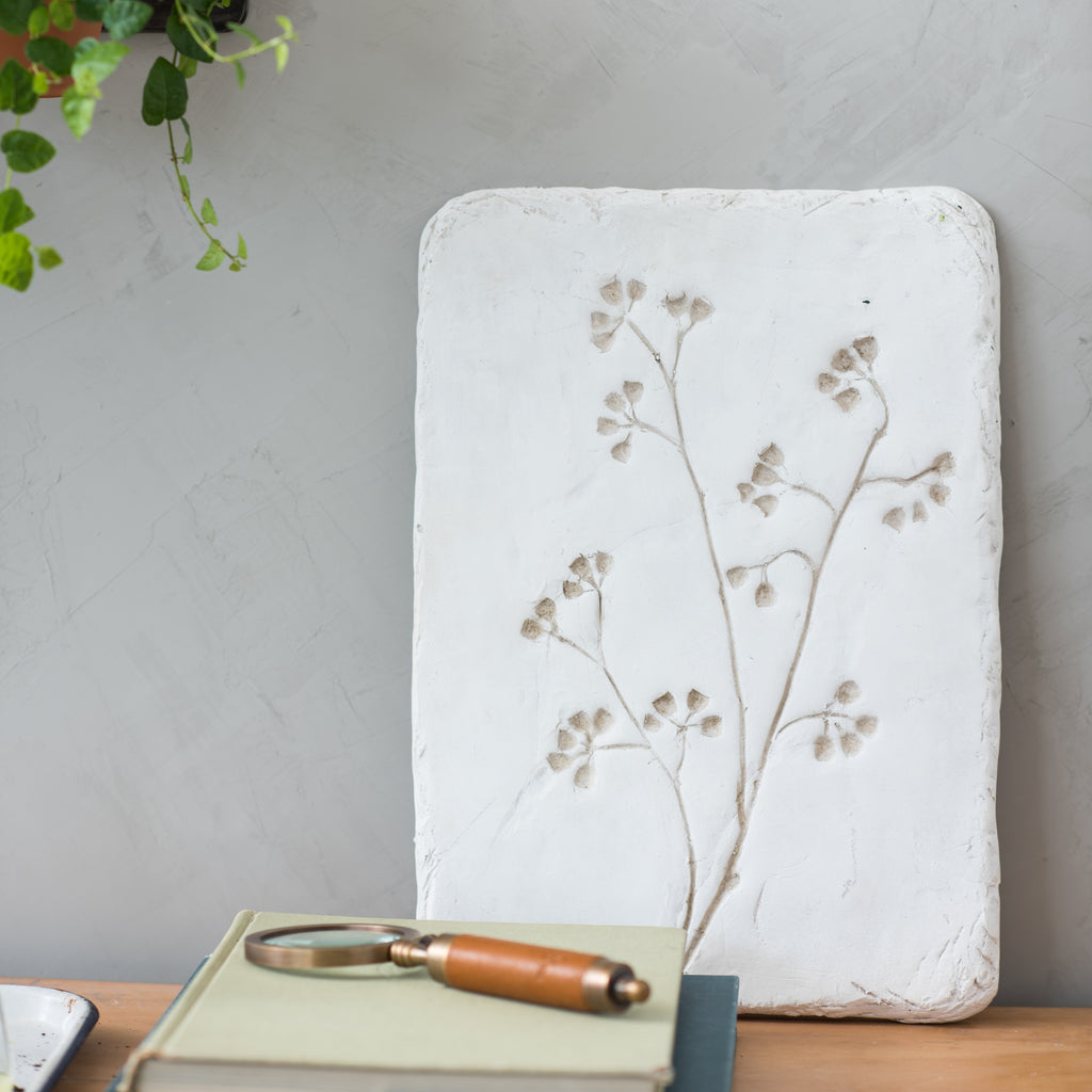 white pressed flower wall mold