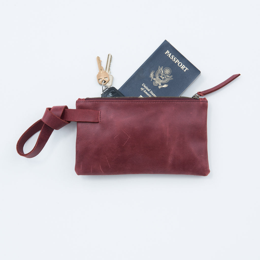 burgundy leather wristlet