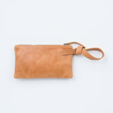 cognac leather wristlet