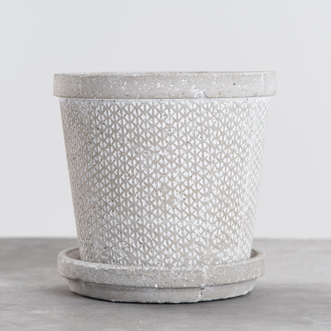 large rattan patterned concrete planter