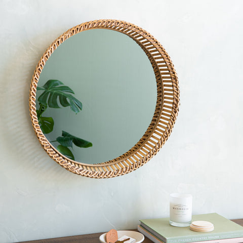 rattan framed circle wall mirror