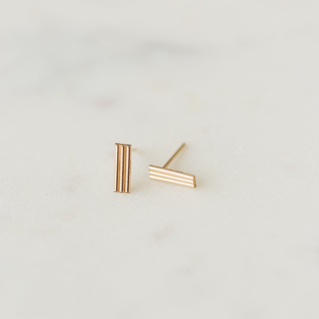 gold bar rectangle studs