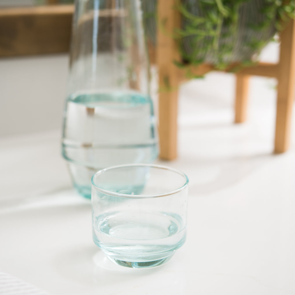 small recycled glass stacking tumblers