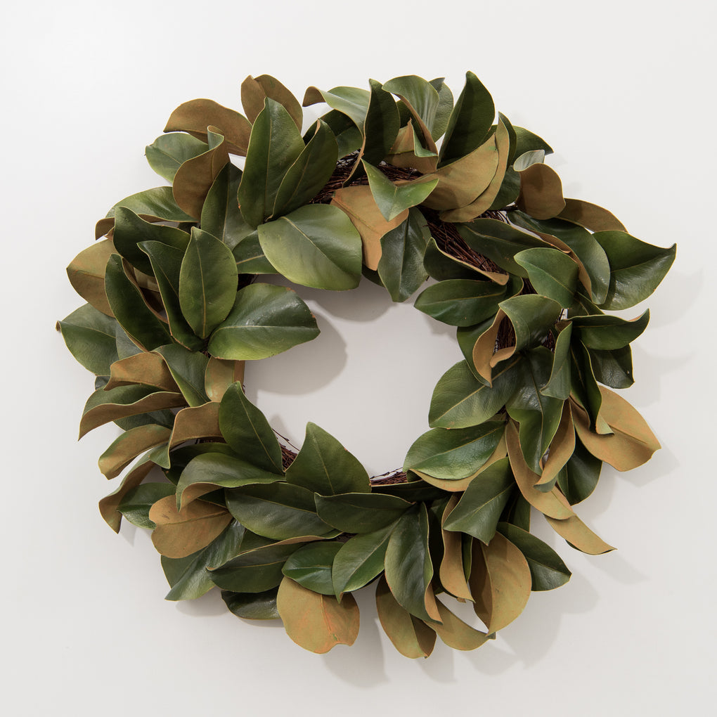 faux magnolia leaf wreath