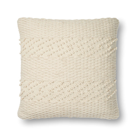 square ivory pillow with textured stripe pattern