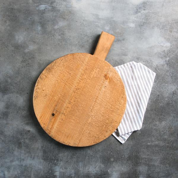 circular wooden bread board