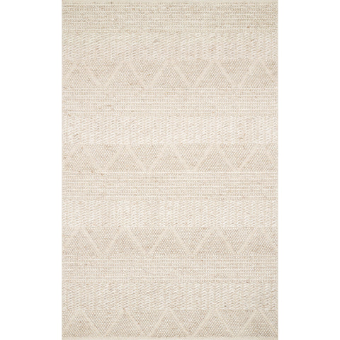 modern light tan rug with knotted geometric patterns