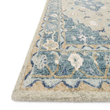 grey and blue traditional rug with floral pattern