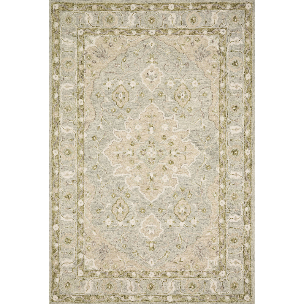 pale green and grey traditional rug with floral detail