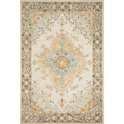 tan and ivory traditional rug with floral detail
