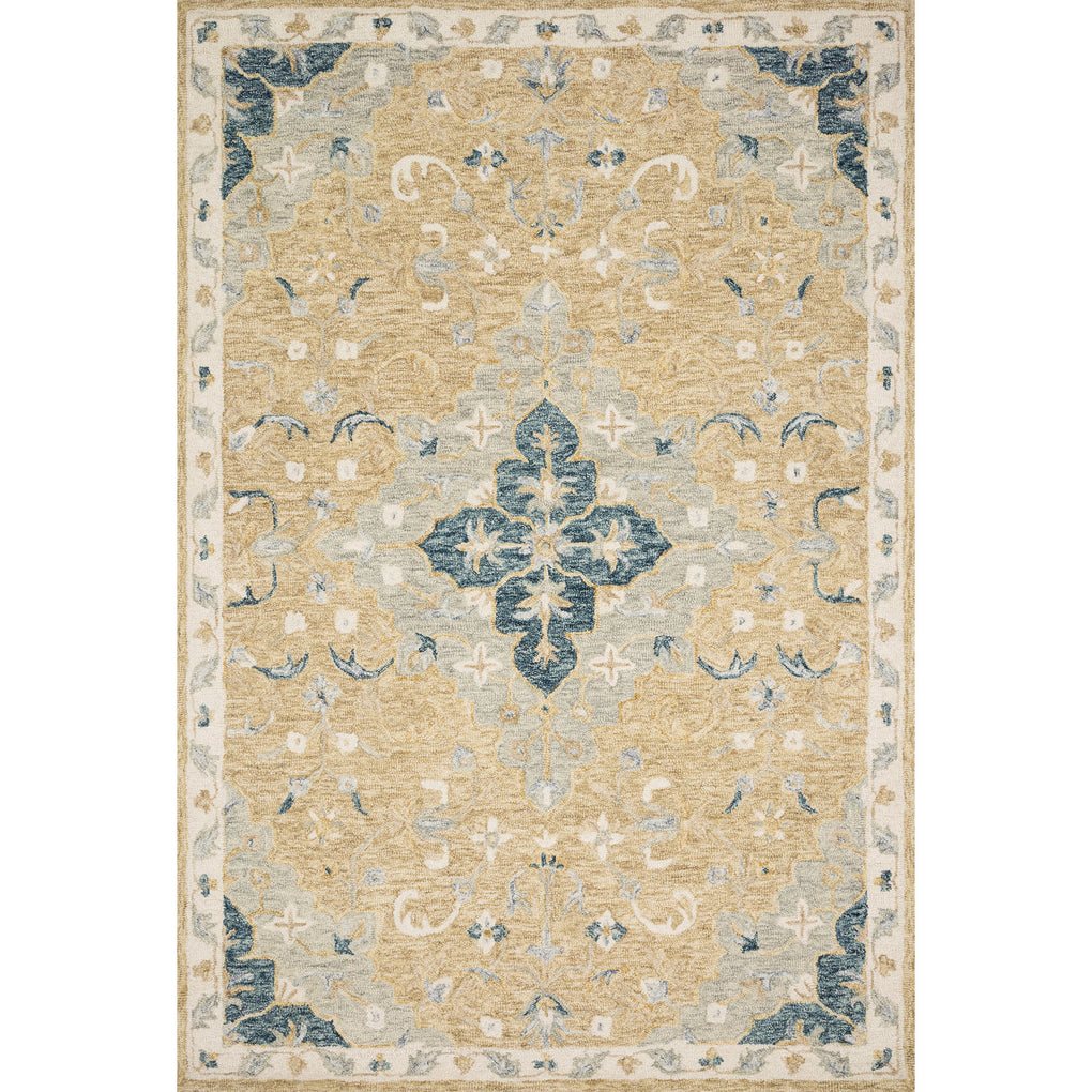 tan and beige traditional rug with blue floral detail