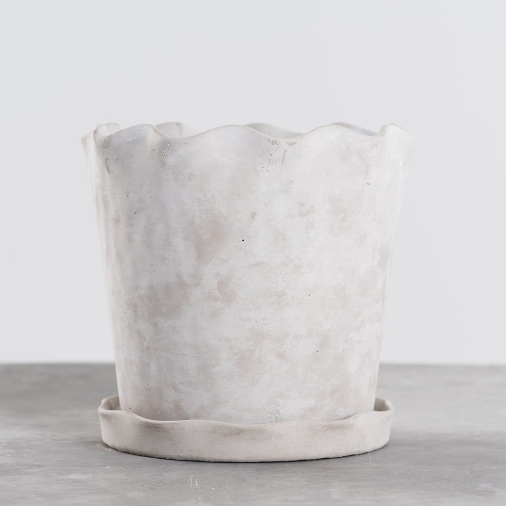 cement pot with scalloped rim