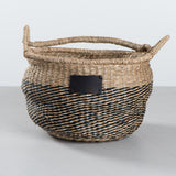 two tone seagrass basket tote