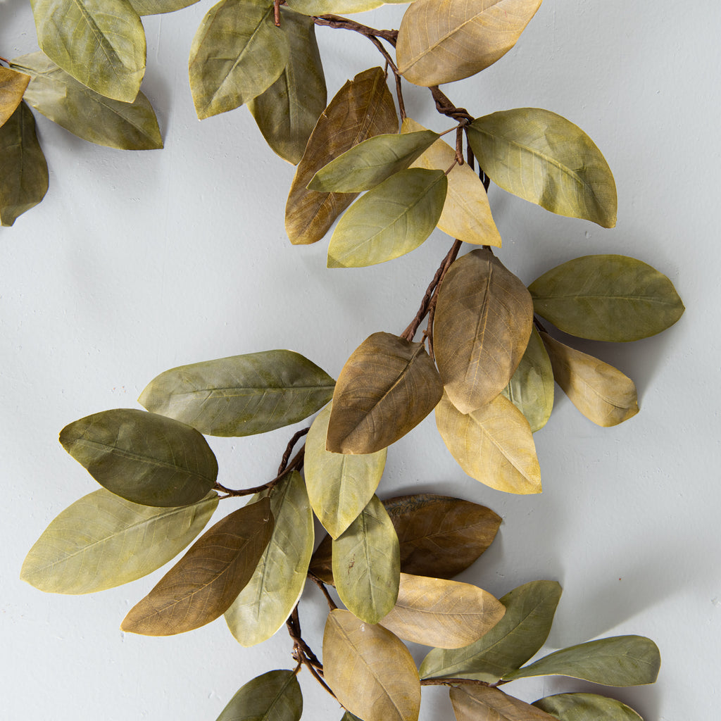 magnolia leaf garland with hand-painted leaves