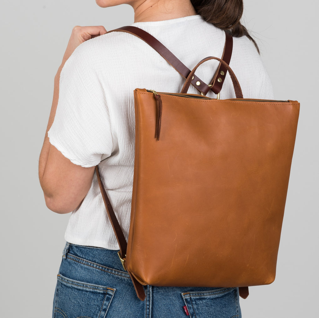 leather backpack with zipper close