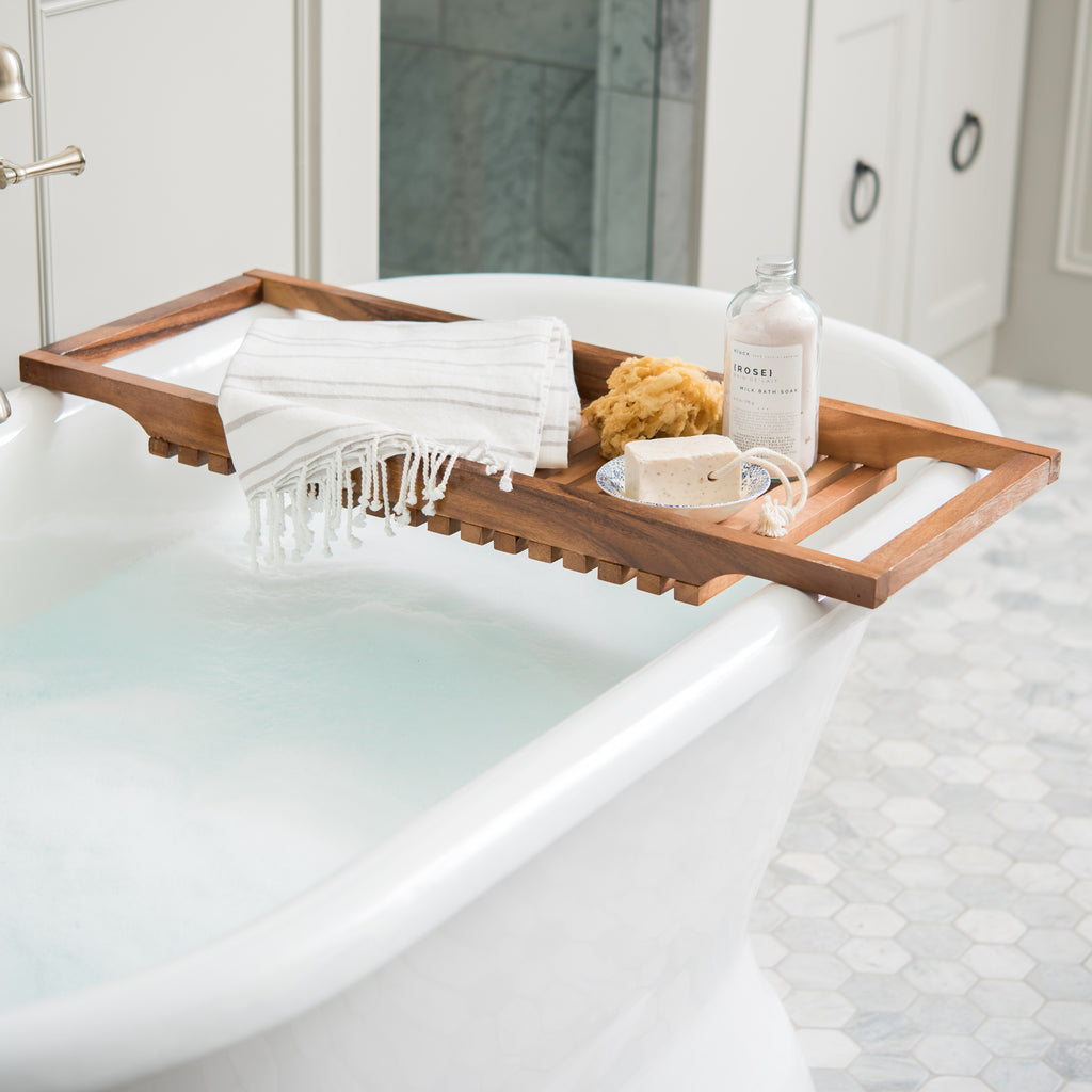 small acacia bath tub tray