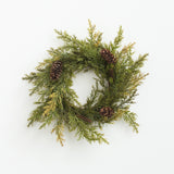 artificial cedar wreath with pine cones