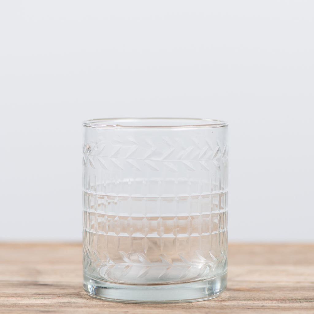 small embossed glass tumbler
