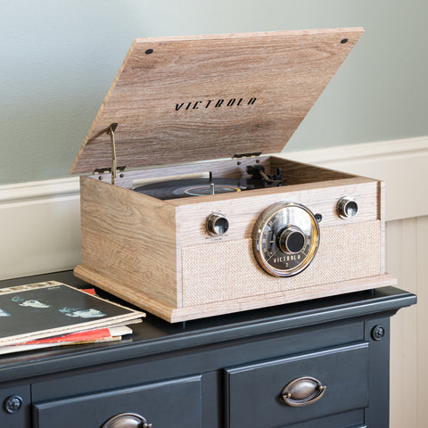 natural wood colored victrola vintage-inspired turntable