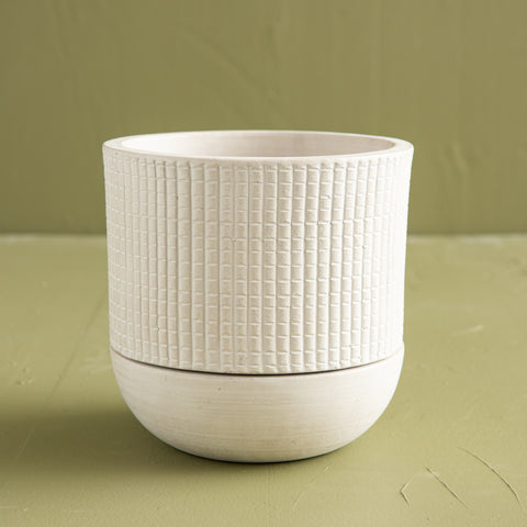 white grid texture pot with saucer