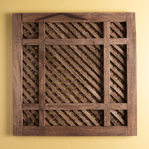 decorative square wooden piece of lattice