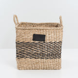 square natural and black seagrass basket with handles