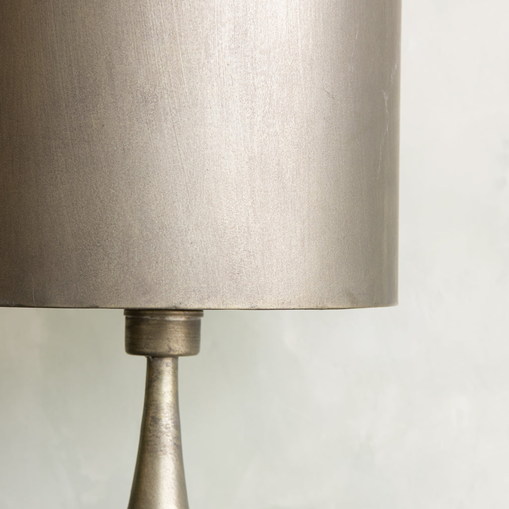 metal decorative table lamp with raw finish