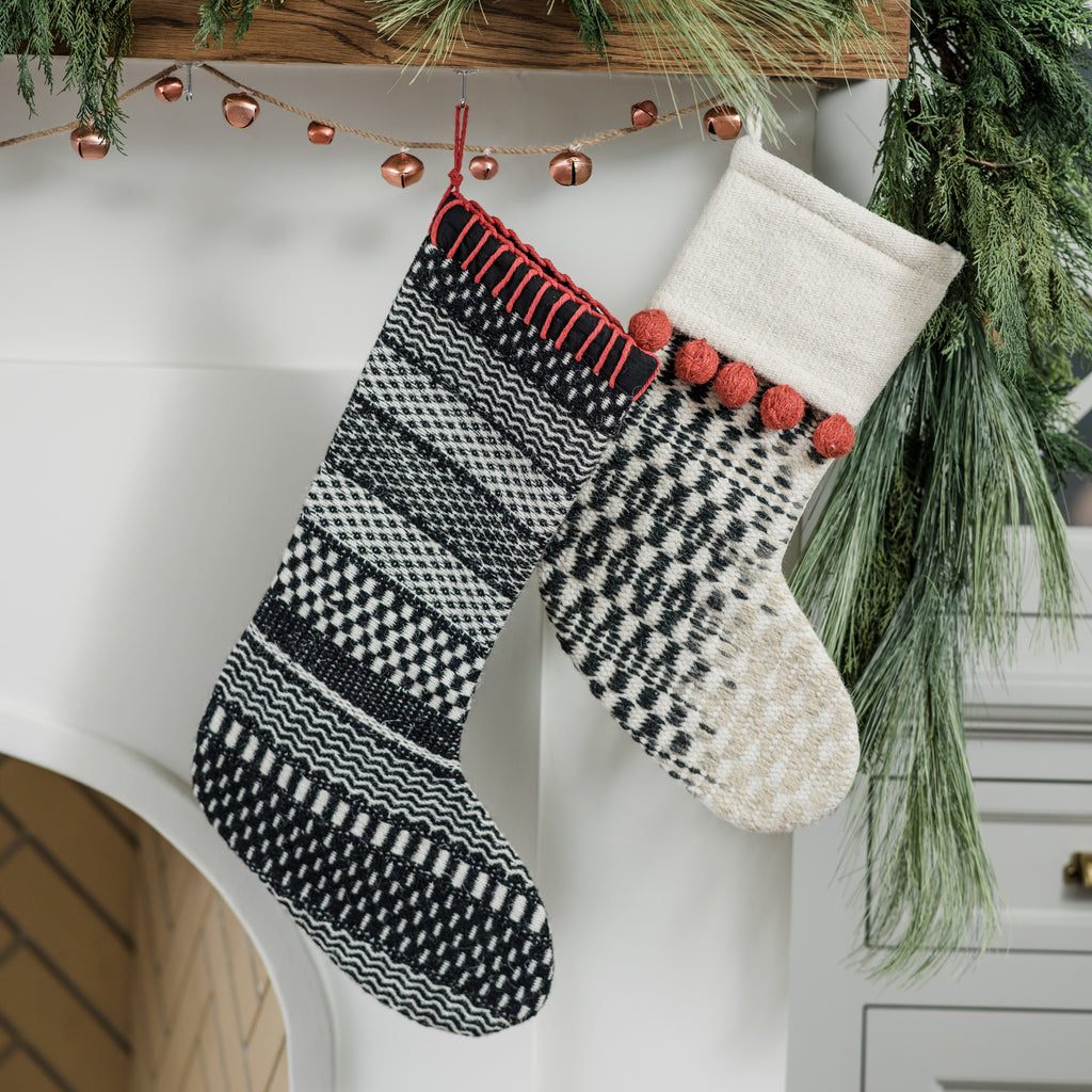 black and white modern stocking with striped pattern