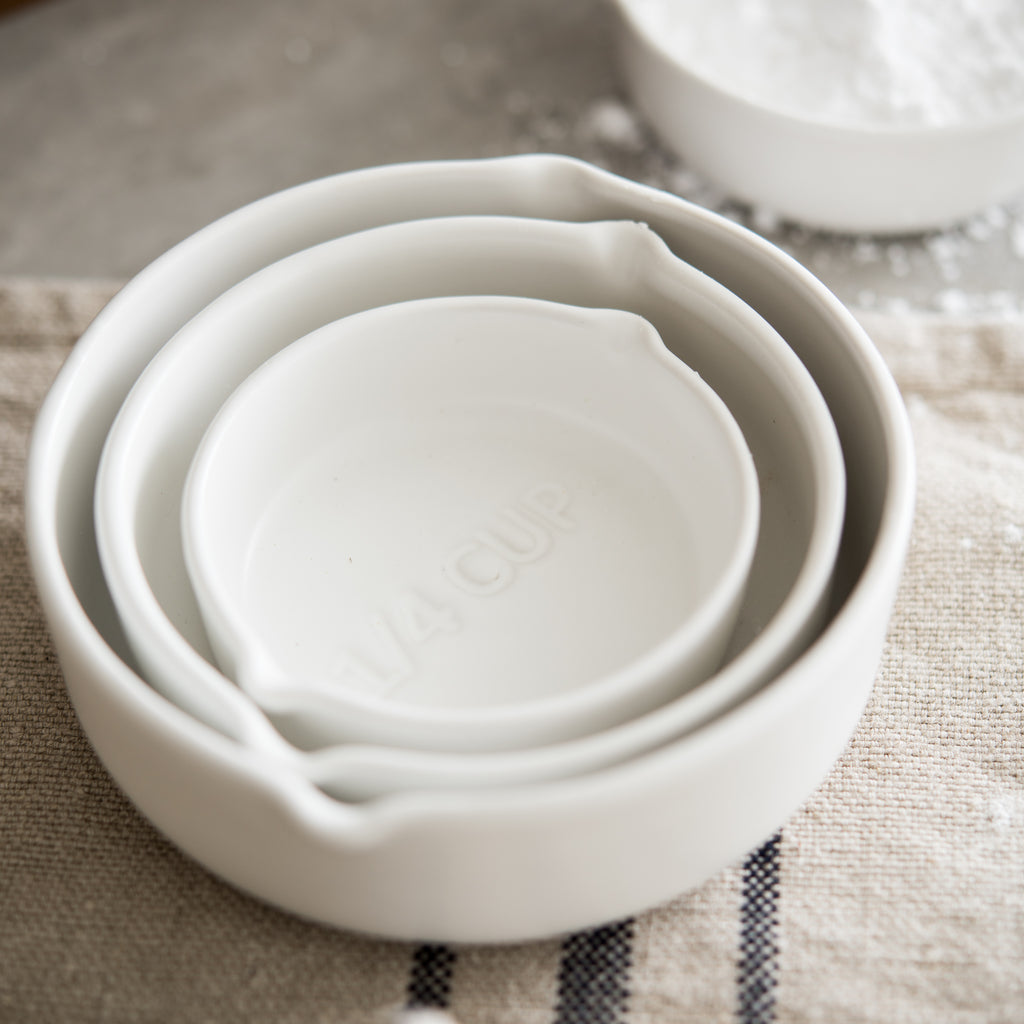 White Stoneware Measuring Cups