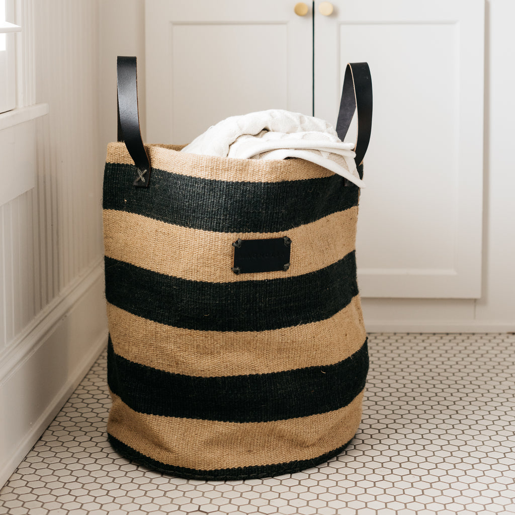 natural and black striped cloth basket with handles