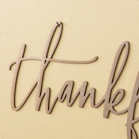 Copper Thankful Script Sign