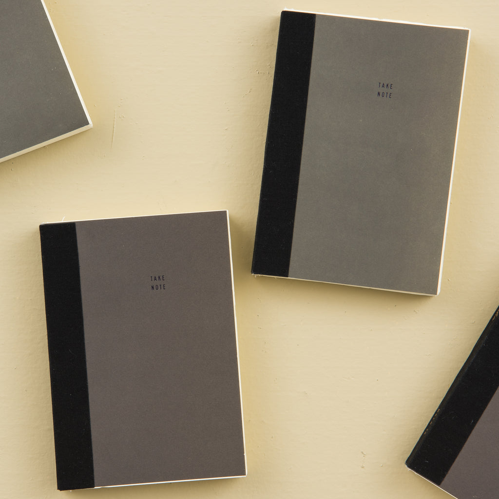 grey notebook with perforated removable note cards