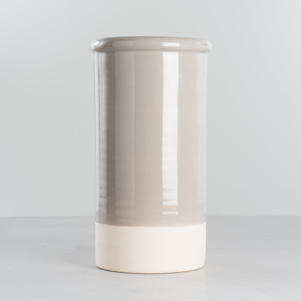 grey and cream color blocked ceramic vase