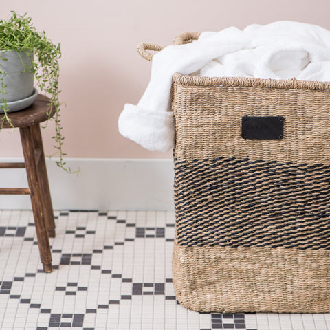 natural and black tall rectangular basket with handles