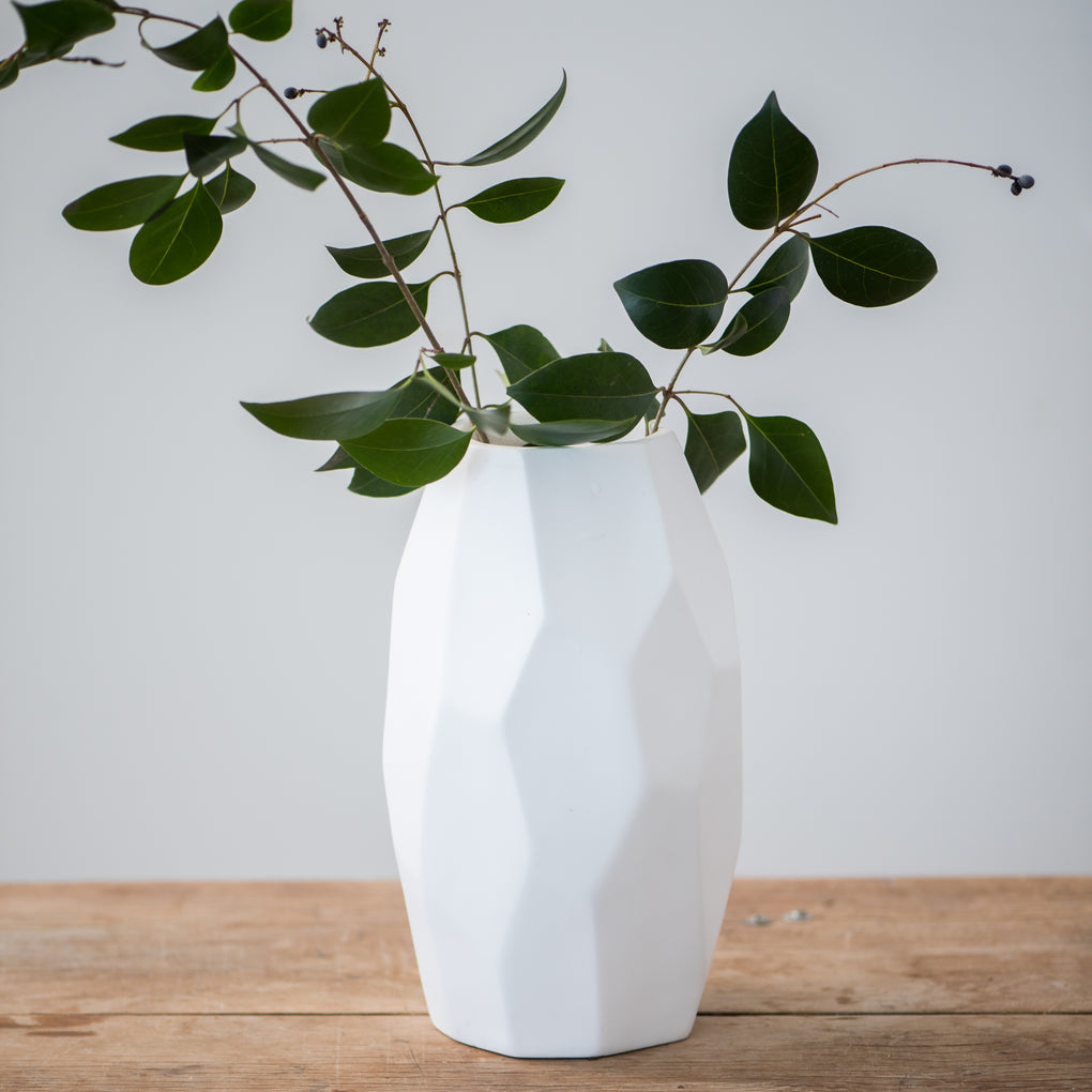 tall white ceramic vase