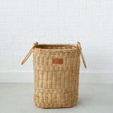 tall rattan hamper with wooden handles