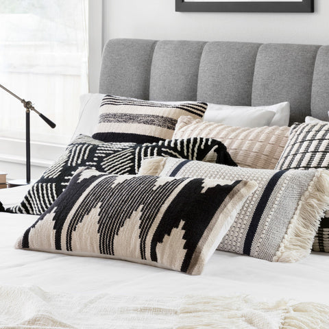 modern black and white diamond pattern pillow