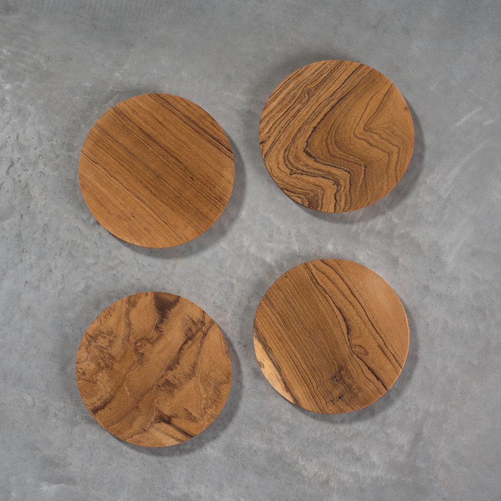 set of 4 round teak coasters