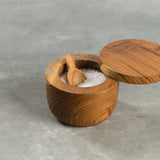 teak salt cellar with teak spoon