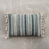 striped teal pillow with tassels