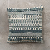 square striped teal pillow