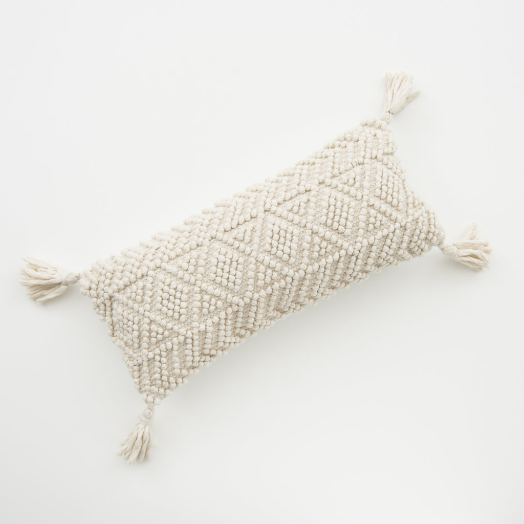 modern textured ivory lumbar pillow