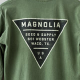 green long sleeve t-shirt with black triangle magnolia seed and supply logo