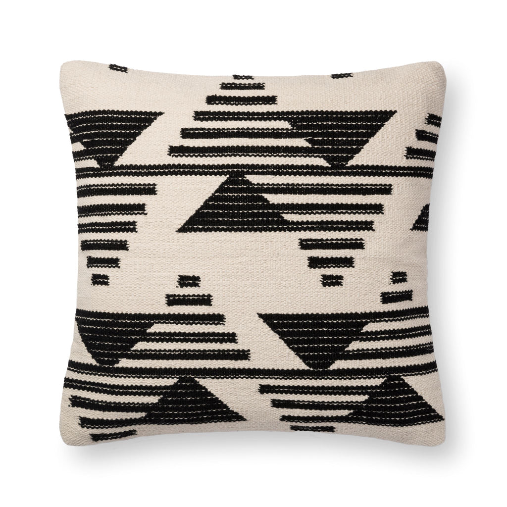 square black and white modern pillow with triangle patterns