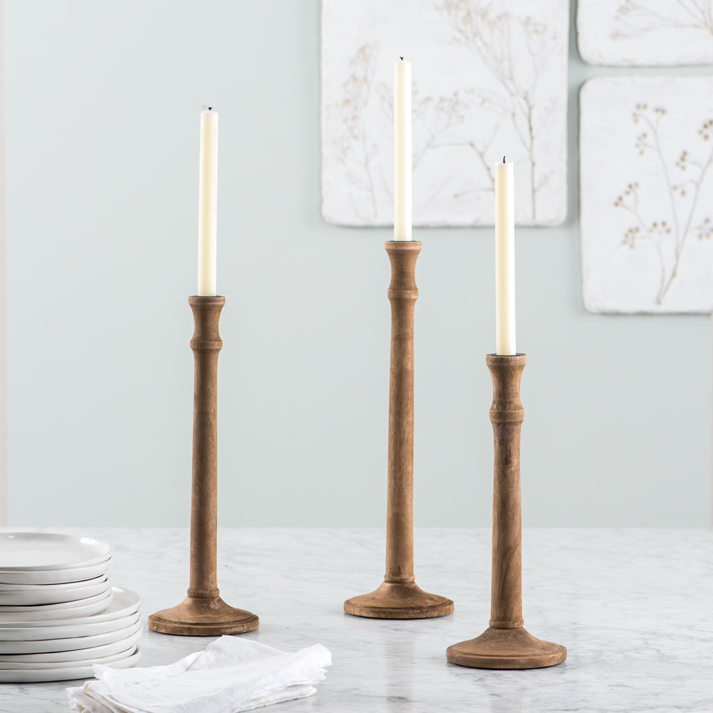 turned wooden taper candleholder