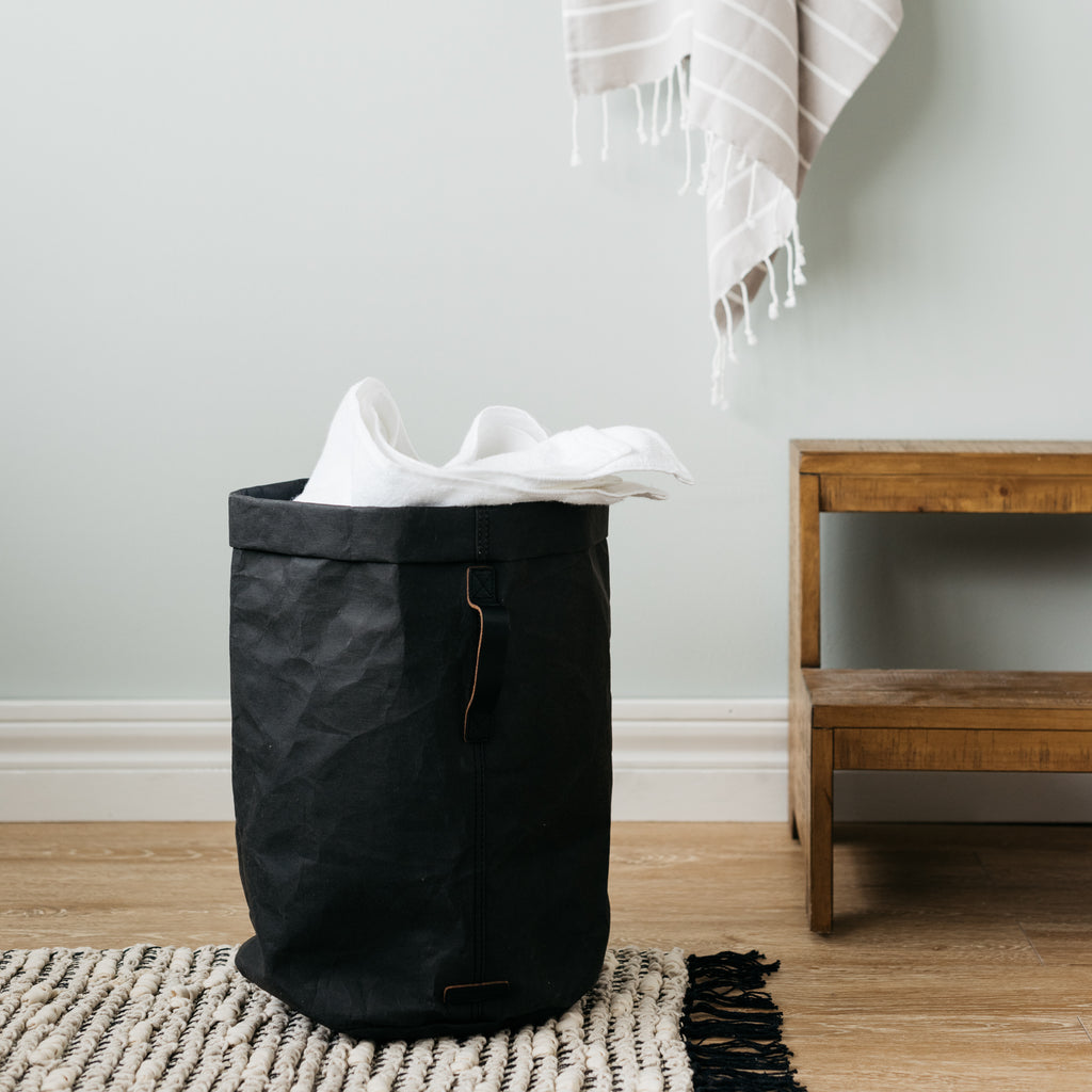 spot-cleanable black paper hamper