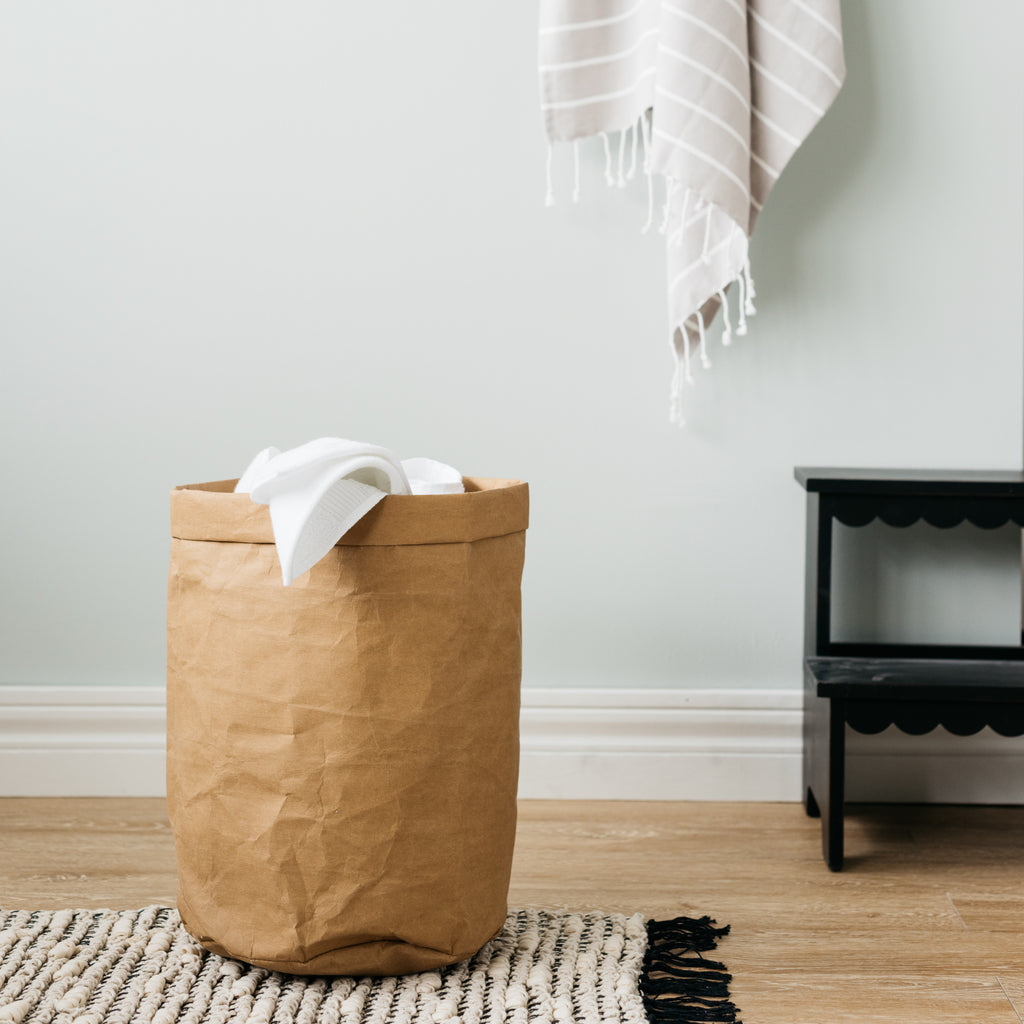 spot-cleanable brown paper hamper